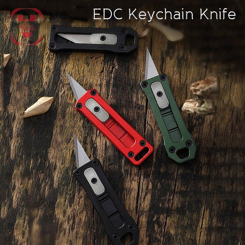 EDC, Mini cuchillo portátil para colgar, herramienta multifunción, llavero de papel para cortar al aire libre, cuchillo de papel, cuchillos de sobres abiertos, 6 estilos