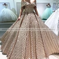 angel novias long arabic glitter champagne ball gown off shoulder evening dress 2021 with feather prom gowns party dresses