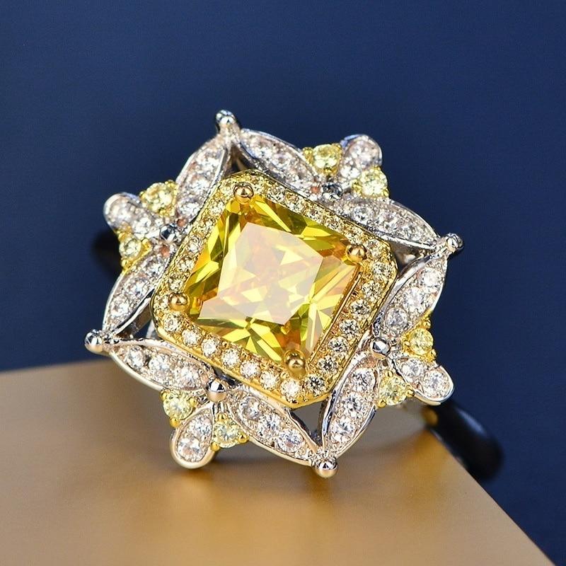 Anillo de lujo Vintage para mujer, anillo amarillo exquisito/anillo de cristal blanco para mujer, joyería de aniversario, joyería para fiesta de compromiso, regalo