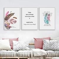 Affiche de lettres en plumes roses  mode abstraite  Art mural  peinture sur toile  decoration de Style scandinave  image  decor nordique pour la maison