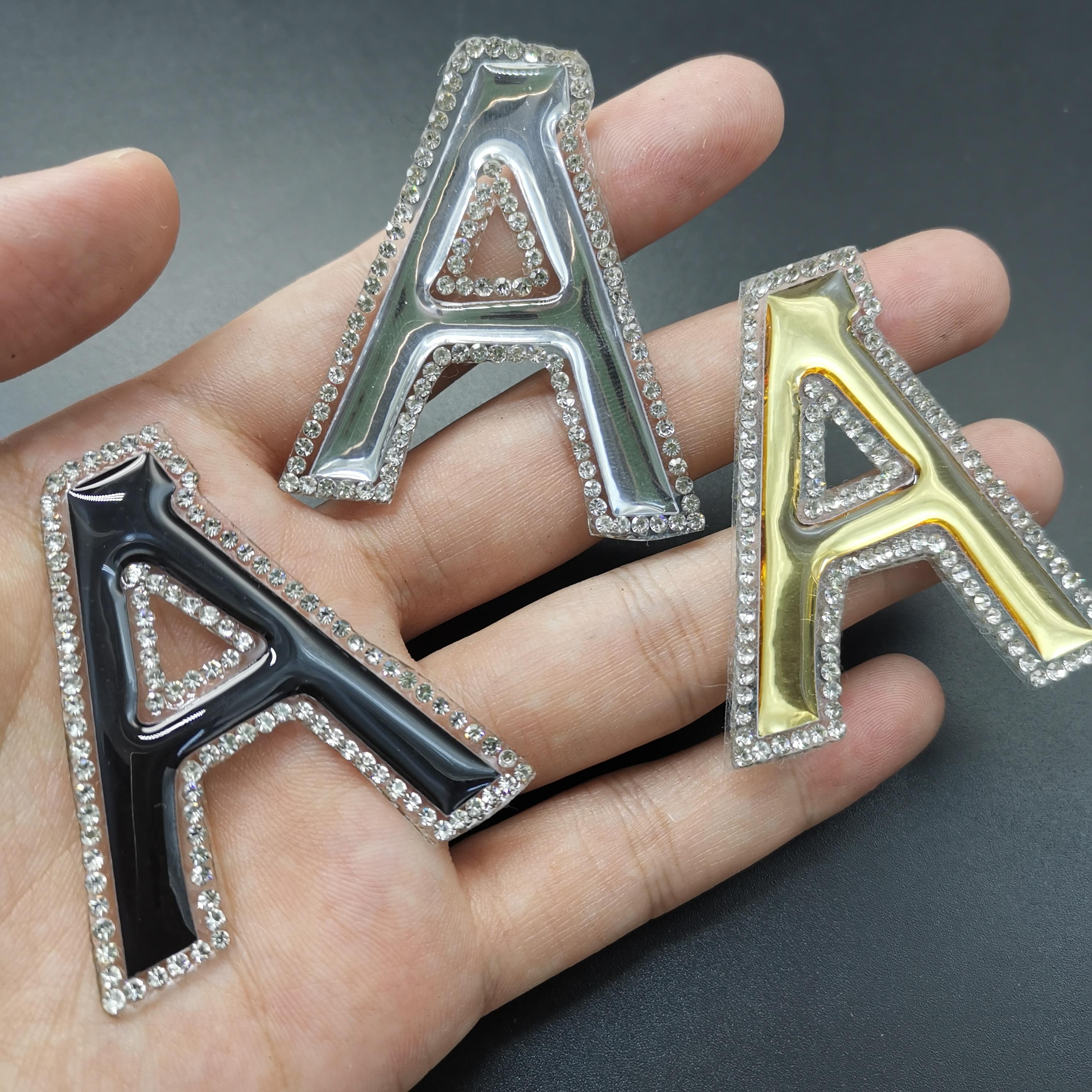 A-Z preto prata ouro ferro em letras 3d remendos carta remendo thermocollant despeje remendos de roupas vetement