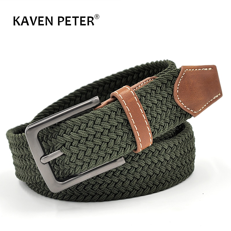 Green Longer Elastic Belts For Men Woven Braided Fabric Comfort Stretch Casual 1-3/8 Wide Hot Metal 160 cm Belt