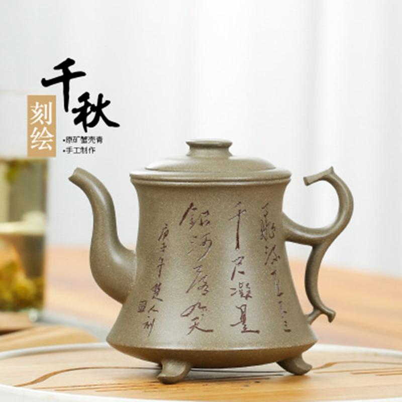 Yixing-إبريق شاي رمال أرجواني فاخر ، إبداعي ، مشهور ، صناعة يدوية ، خام ، صدفة سلطعون ، أزرق Qianqiu ، طقم شاي بحروف