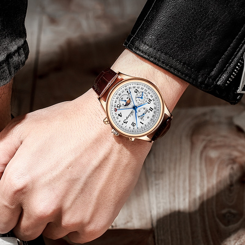 2021 genuine Ailang new men's watch Mechanical masculine and waterproof automatic man watch with leather strap and calendar enlarge