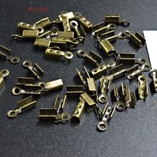 FLTMRH 120 pièces 8*3mm embouts métalliques fermoirs dextrémité pour cordon en cuir or/argent couleur cordes boucle perle sertissage connecteurs bijoux