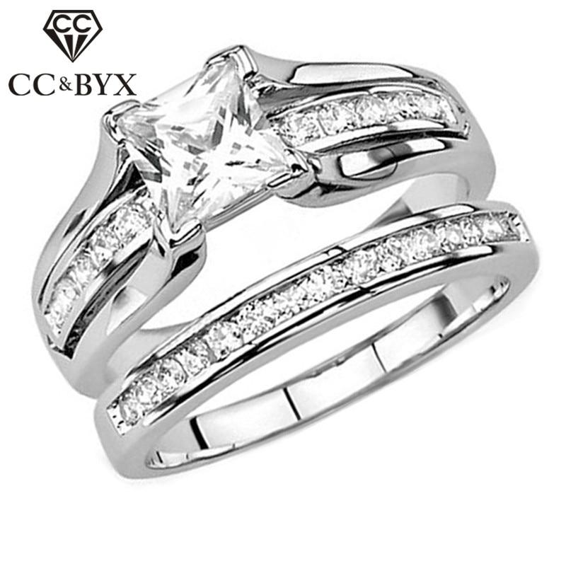 Anillos de joyería de moda CC para mujer, anillo Simple de Zirconia cúbica, piedra cuadrada, accesorios de boda, Anel Drop Shipping CC2356
