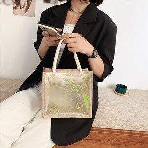 Fashion Women Top Handle Handbags Female Transparent PVC and Linen Handbags Ladies Jelly Bag Graffiti Handbags Women Summer Bag