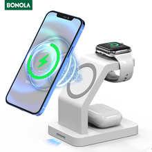 Магнитное Беспроводное зарядное устройство Bonola Qi 15 Вт 3 в 1 для iPhone 12 Pro Max/12Mini, быстрая зарядка для Apple Watch/Airpods Pro