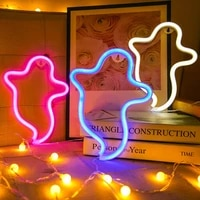 ghost led night light neon lights wall decor with holder base decoration lamps