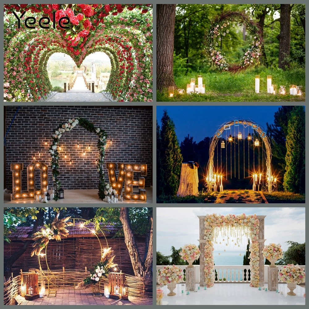 Yeele Wedding Stage Ceremony Photocall Flower Heart Photography Backdrops Personalized Photographic Backgrounds For Photo Studio