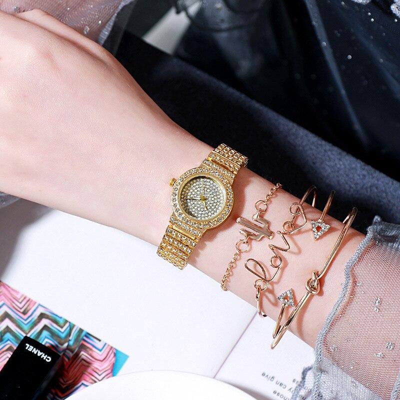 YUNAO Explosive Bracelet Watch Set Women's High-end Fashion Starry Diamond Strap Ladies Watch Quartz Watch 2021 new wrist watch enlarge