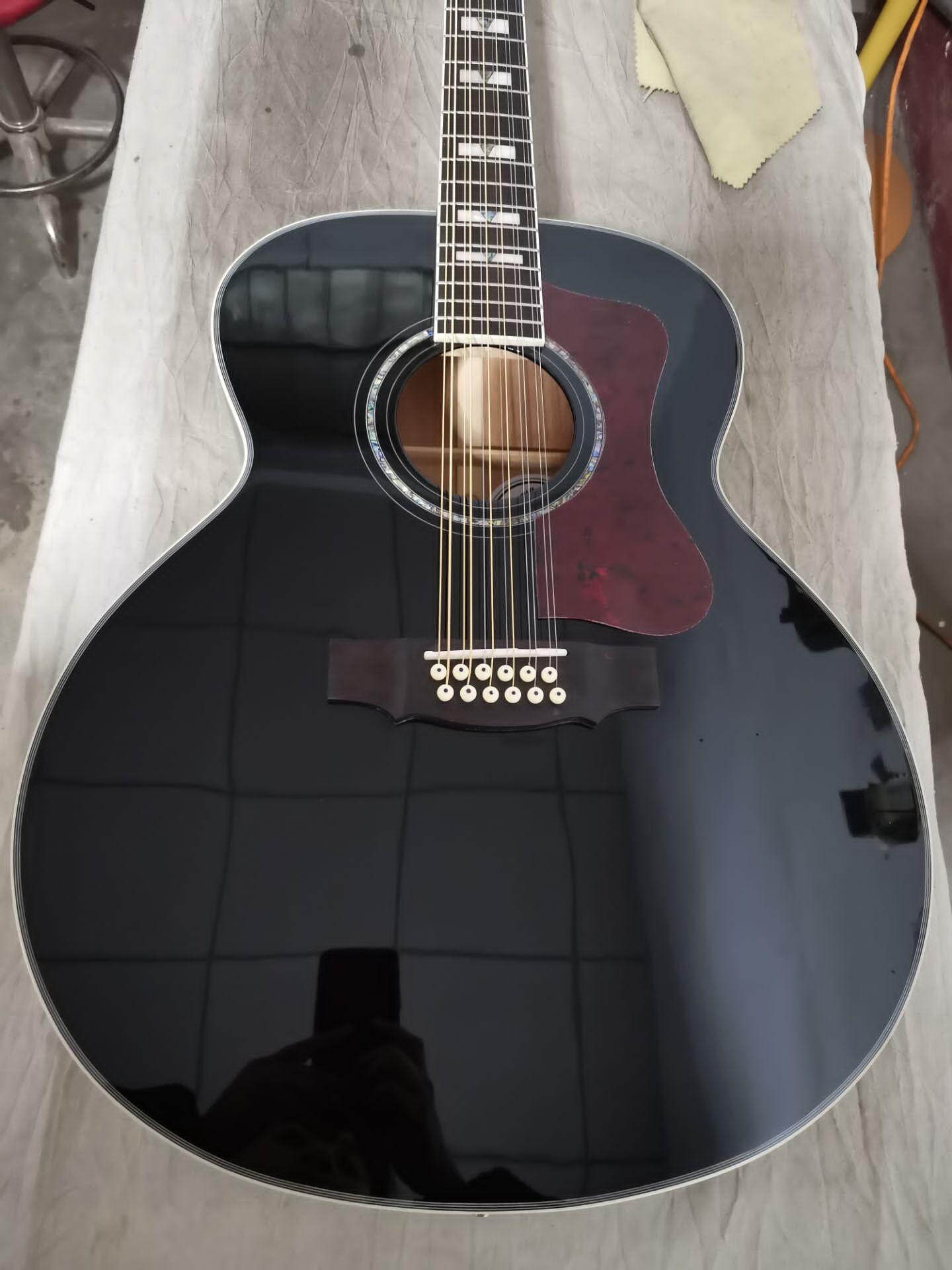 Guitarra acústica de color negro brillante, jumbo acústico, F512, tamaño jumbo, 12 cuerdas, guitarra acústica sólida, estilo guild
