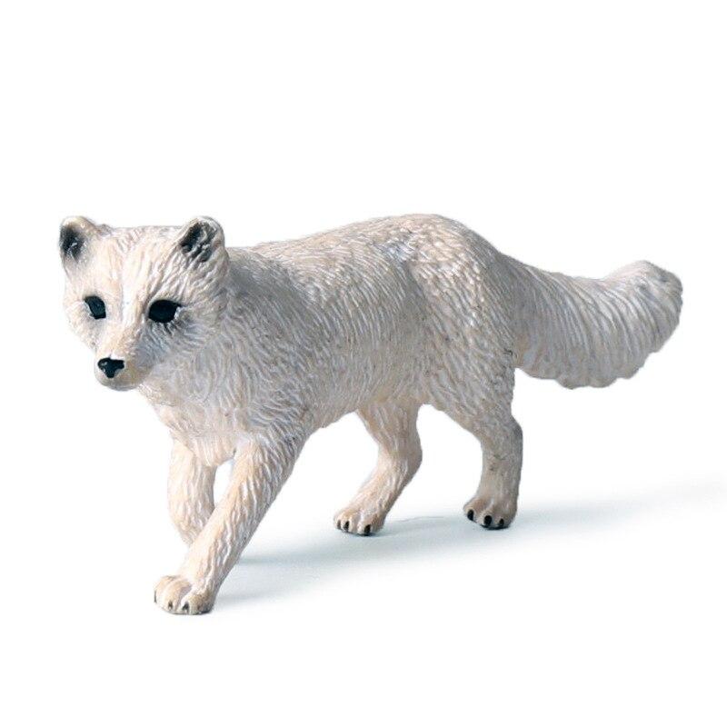 Simulation Cute Arctic Fox Animals Miniature Figurine Wild Animal Model Action Figure Bonsai Garden Home Decoration Children Toy