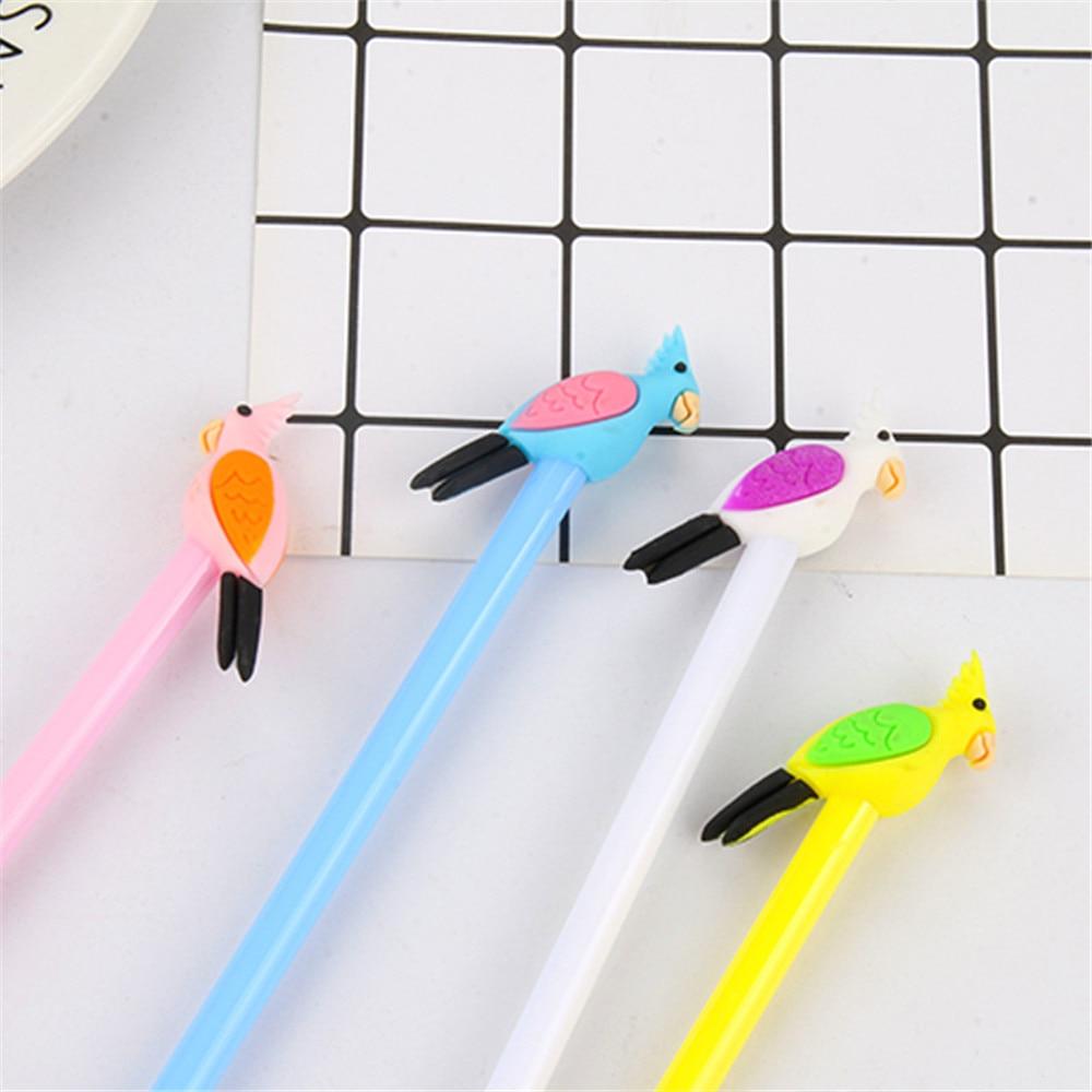 2 uds bolígrafos bonitos de Gel con dibujo de loro 0,5mm plumas para firma de tinta negra regalos de recompensa Kawaii para niños material de papelería material de oficina escolar