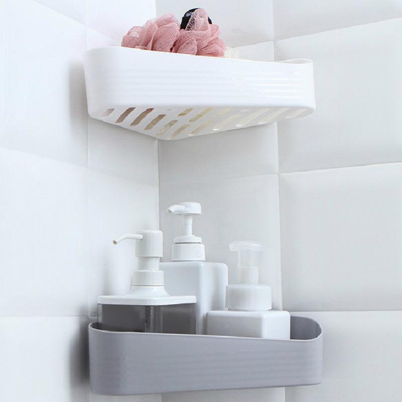 Estante de baño, estante de almacenamiento adhesivo, Soporte esquinero, Gel de ducha, cesta de champú, producto en oferta