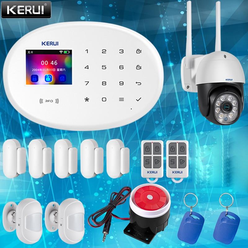 KERUI Smart Home Safety Alarm System Wifi GSM Wireless Connections Sensor APP Control TFT Color Display Smoke Sensor System