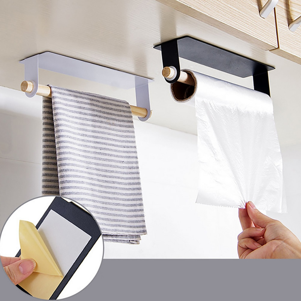 Punch Free Self-Adhesive Roll Paper Holder Towel Wooden Storage Rack Hanging Shelf Hanger Storage For Kitchen Bathroom Toilet self adhesive roll paper holder bathroom toilet paper holder kitchen towel holder rack tissue hanger rack hanging organizer