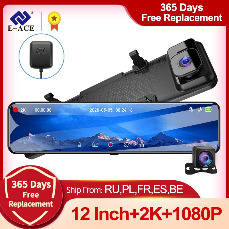 E-ACE A45 12 Inch Touch Car DVR 2K Mirror Dash Cam Auto Recorder Dashcam  Dual Lens support GPS 1080P Rear Camera