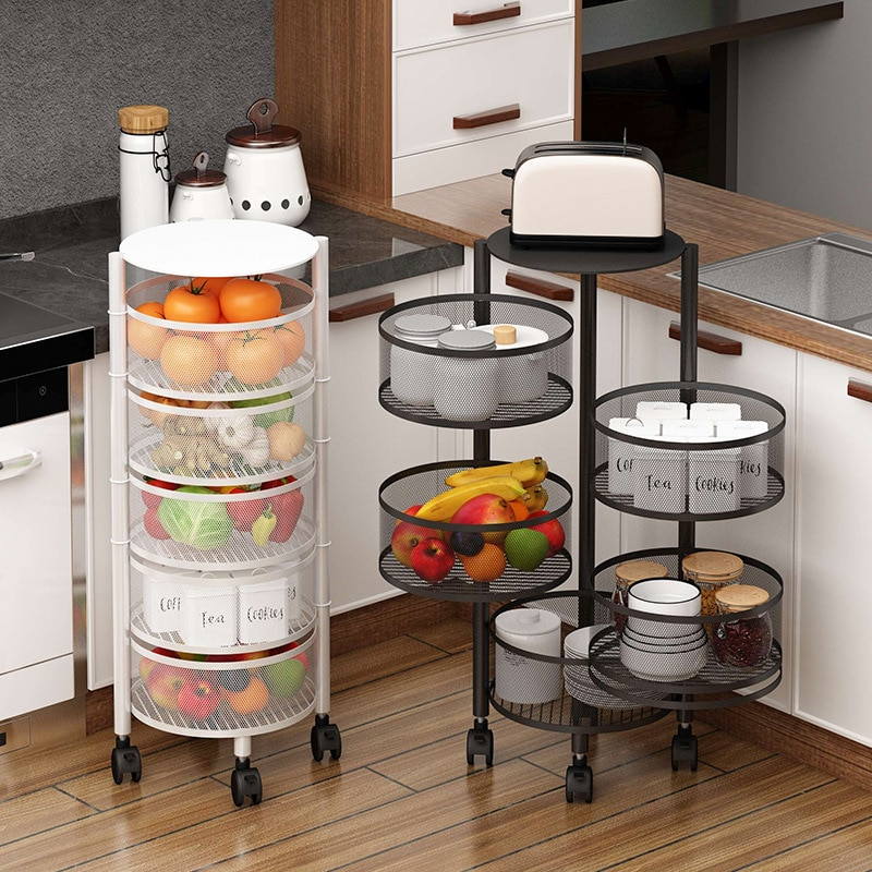 3/4/5 Layer Kitchen Storage Basket Drawer Type Round Shape Rotatable Trolley Rolling Cart Floor-Standing Vegetables Fruit Rack