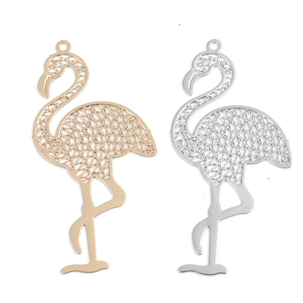 DoreenBeads Mode Kupfer Filigrane Stanzen Anhänger Gold Silber Farbe Vogel Strauß Charms DIY Erkenntnisse 4,4 cm x 2,2 cm, 10 PCs