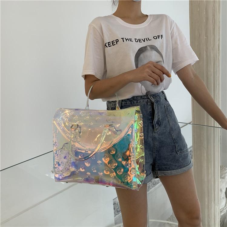 العلامة التجارية الفاخرة الملونة الليزر 2021 المرأة حقيبة البريطانية شفافة حقيبة كتف عادية بسيطة ForL حقيبة يد