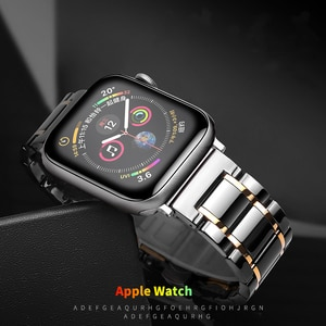 Strap for apple watch 5 band 44mm 40mm iwatch band 42mm 38mm Ceramic Butterfly buckle bracelet for apple watch series 6 se 4 3 2