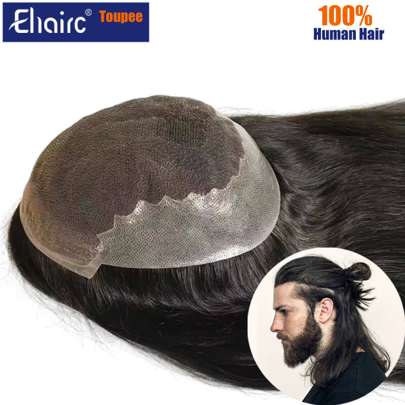 Men Toupee Customized Q6 Long Wig For Men Natural Hairline Men's Wigs Breathable Lace&Pu Male Hair Capillary Prosthesis Man Wig
