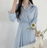 korean simple solid autumn dress fashion polo collar long sleeve elegant midi dresses high waist vestidos women clothing 2021