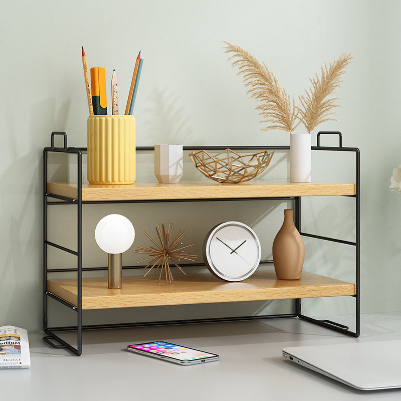 2 Layer Metal Desktop Bookshelf Desk Organizer Book Magazine Stand Shelf Rack Bookcase Students Stationery Storage Holder