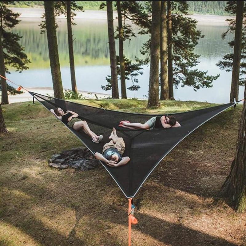 متعدد شخص-أرجوحة مثلث الجوي حصيرة أرجوحة بيت شجرة السماء الهواء خيمة معلقة السرير التخييم حصيرة المحمولة أرجوحة في الهواء الطلق صافي