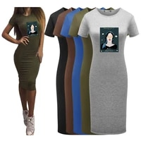 slim dress for women beautiful girl printing short sleeve solid color sexy workwear beach dresses woman summer dress