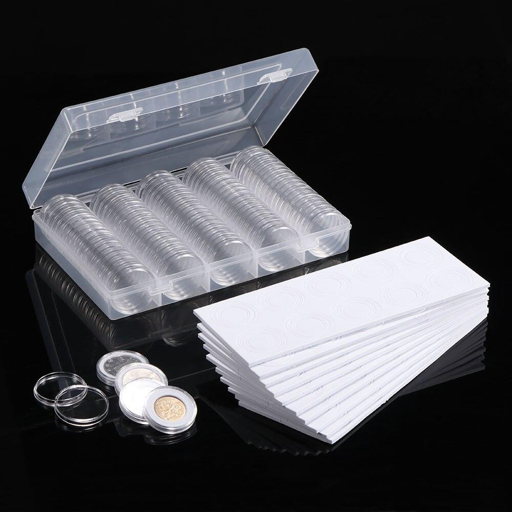 عملة حامل كبسولات صندوق شفاف لعملة جمع حامي عملات صندوق تخزين