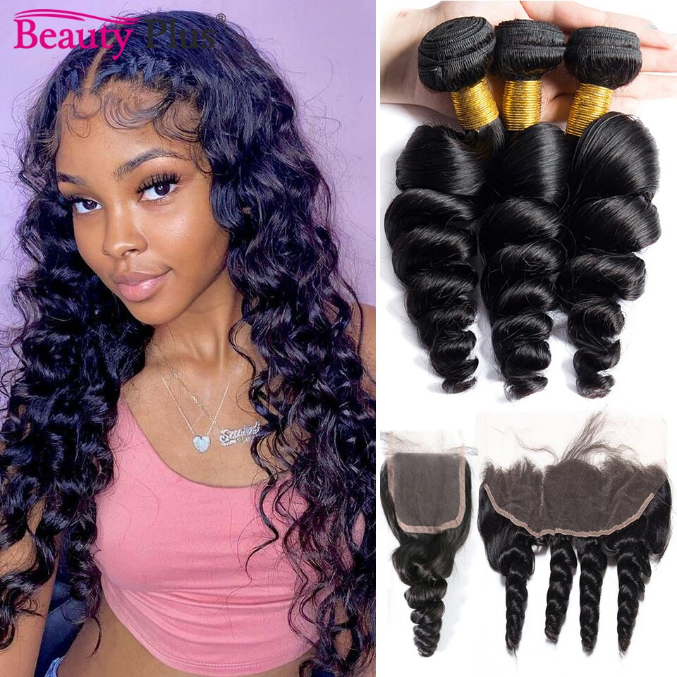 Loose Wave 3 4 Bundles With 13x4 Frontal Brazilian Human Hair Loose Wave Bundles With Closure Natural Black Remy Hair Extensions