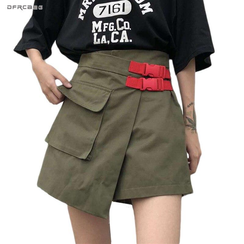 Army Green Vintage Womens Skirt Shorts High Waist 2020 Summer Irregular Cargo Short Skirts Female