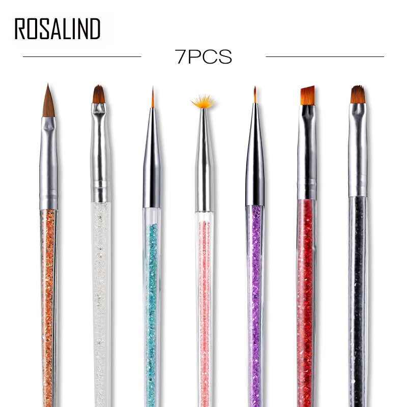 ROSALIND Nail Brushes For Manicure Design Tool Set Need Lamp Gel Acrylic Brushes Liner Pen Nail Art Brush For Painting Drawing