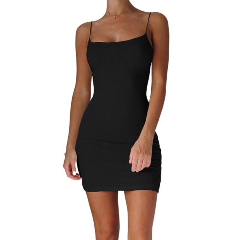AliExpress - Spaghetti Strap Camisole Mini Dress Women Plus Size Bodycon Vestidos Summer Sexy Low Cut Sleeveless Solid Color Party Club Dress