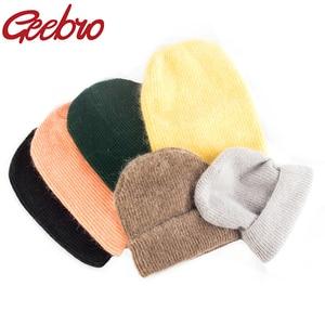 Geebro women Autumn winter rabbit hair Winter skullies Hat fashion warm beanies hats casual solid adult Knitted caps Bonnet