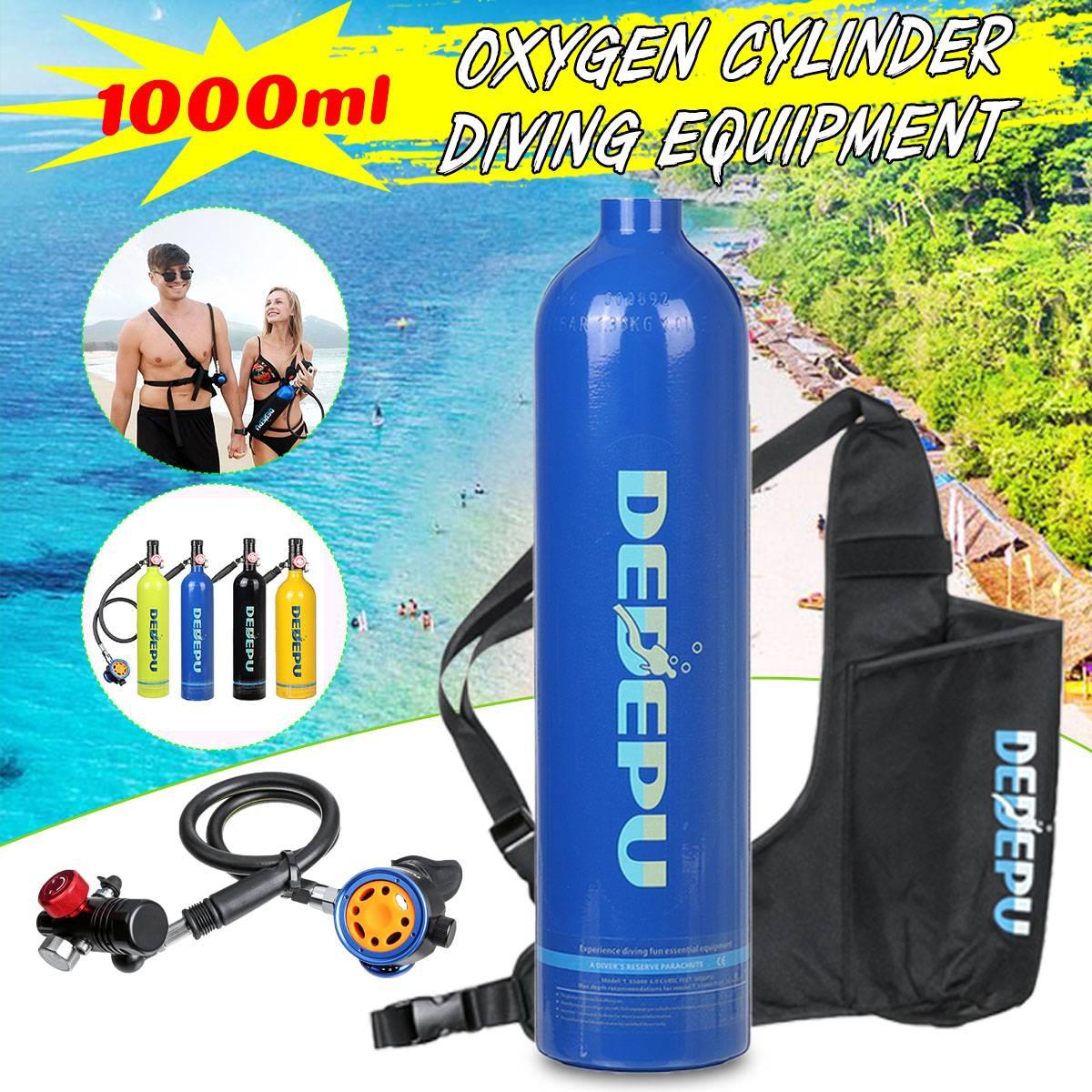 6 Stypes DEDEPU 1L, tanque de buceo portátil, cilindro de oxígeno, respirador de buceo, válvula de respiración, equipo de buceo, Set