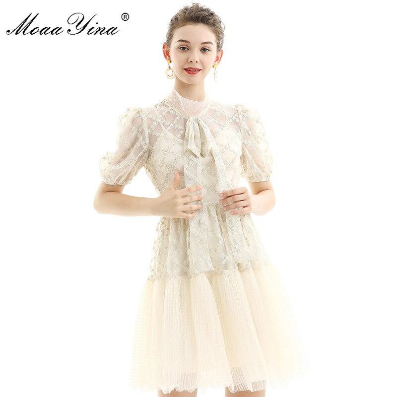 Moaayina moda pista vestido de verão vestido feminino gola puff manga malha ouro linha bordado magro vestidos elegantes