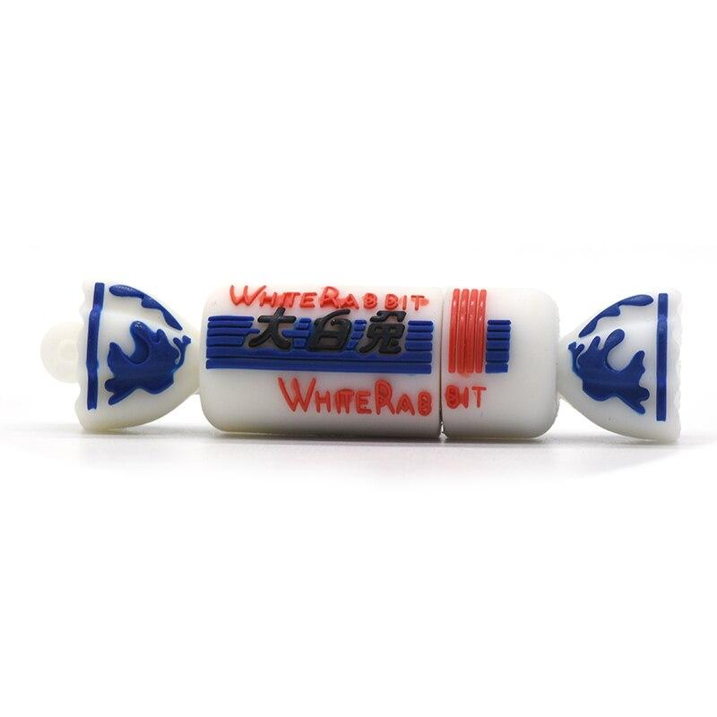 Unidad de pluma de caramelo de conejo blanco 32GB 16GB 8GB 4GB de dibujos animados dulce memoria Flash Usb palo Sweetmeat U Stick regalo colgante
