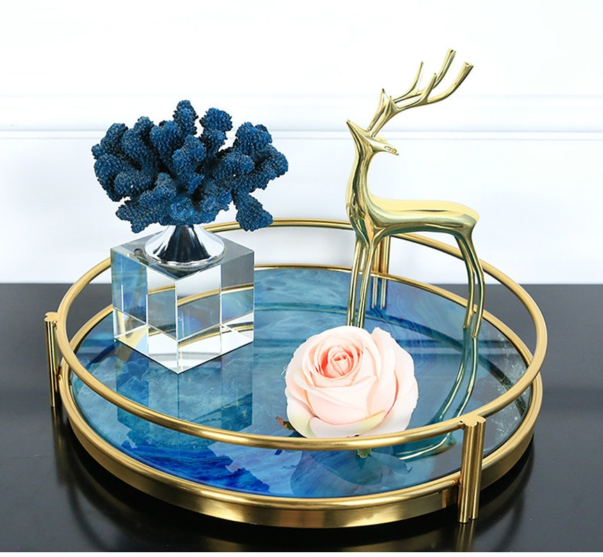 European Style Blue Agate Stone Pattern Metal Tray Round Rectangular Tray Cosmetic Accessories Storage Show Plate Decoration