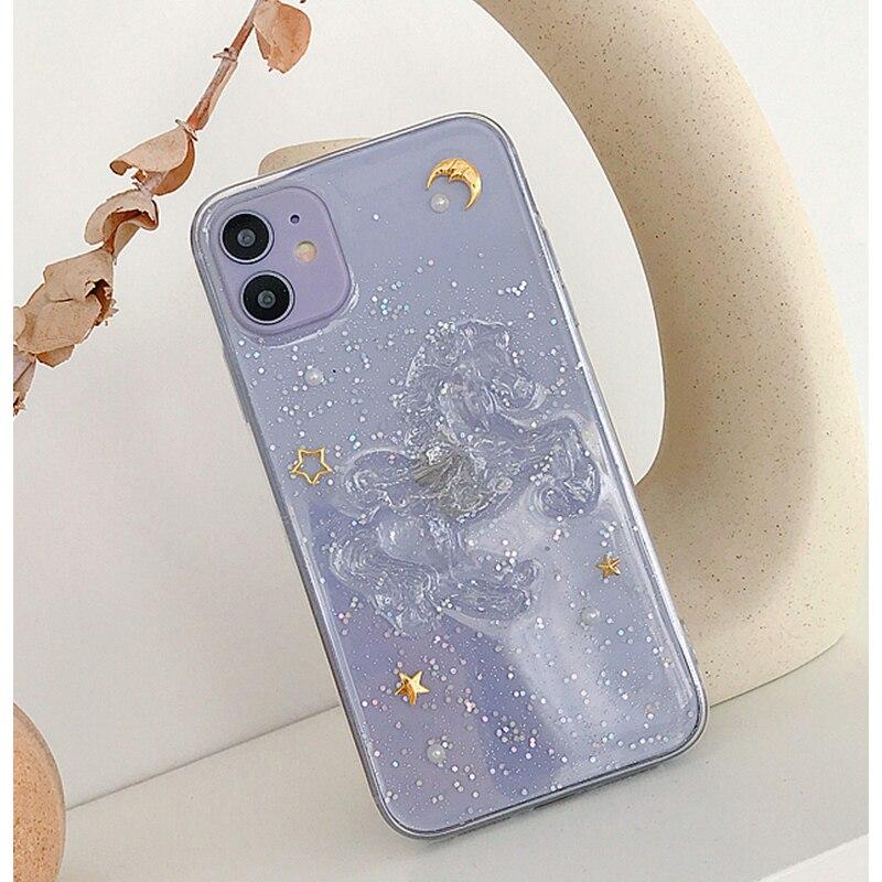 Funda de teléfono con unicornio, bonita y ostentosa gota de pegamento para Iphone 11 Pro Xr 8 7 6 6S Plus Xs Max X, funda protectora completa transparente