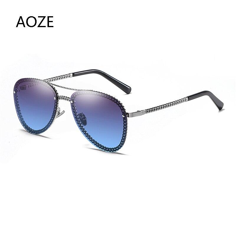 ¡Novedad de 2020! Gafas de sol modernas de lujo con marco con cadenas para piloto, gafas de sol casuales para mujer, gafas de sol de almeja UV400
