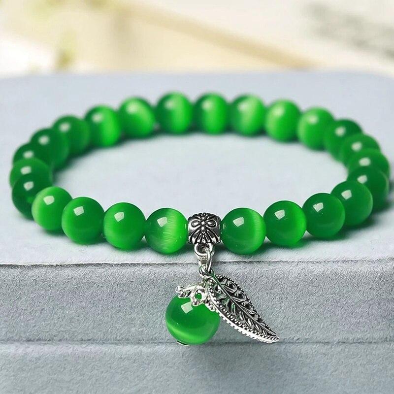 Hot Sale Mixed Colour  Cat Eye Bracelets Bangles Elastic Rope Chain Natural Stone Friendship Bracelets  Jewelry
