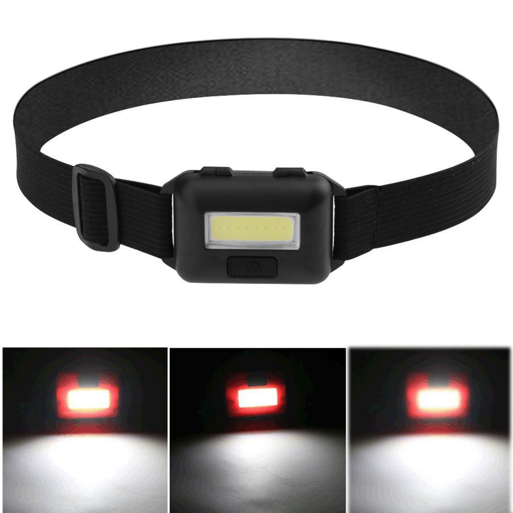 Mini linterna frontal 3 modos linterna de cabeza alimentada COB LED Super brillante faro para Camping