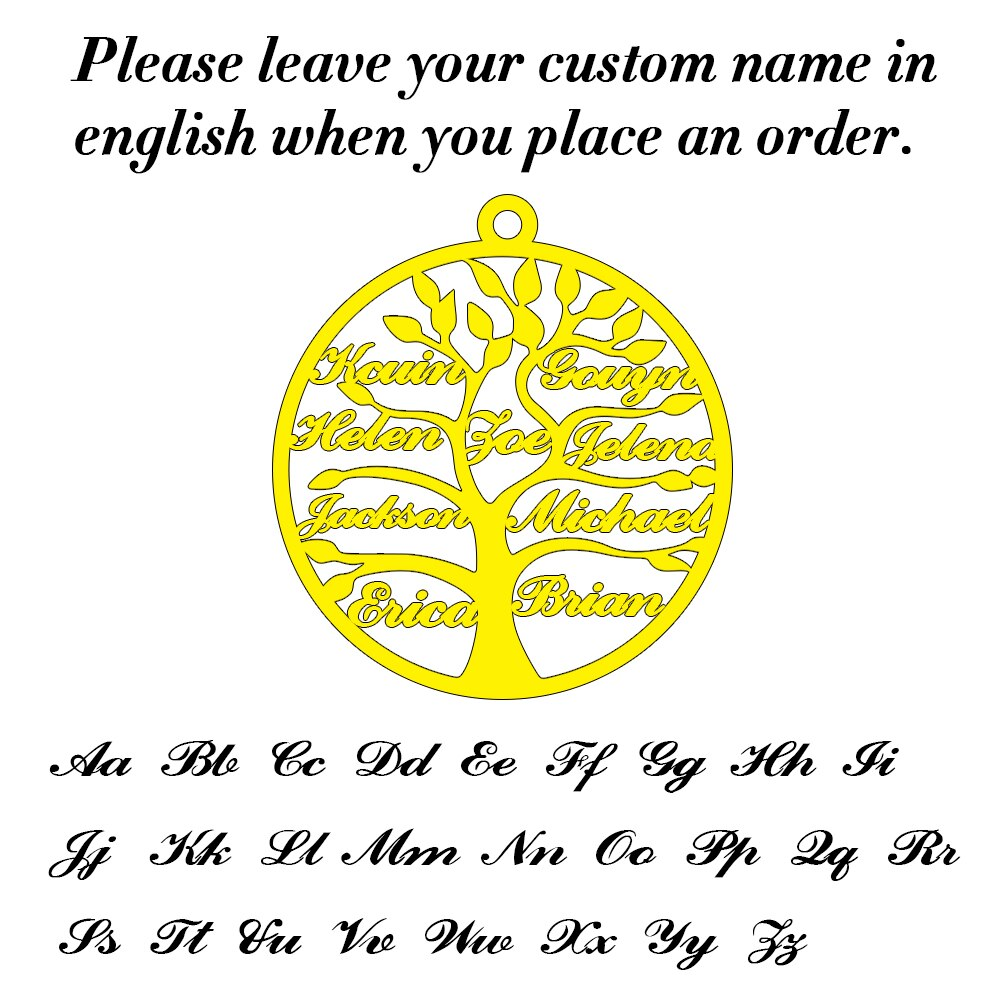 Special customized tree of life necklace with 7 names to 10 names