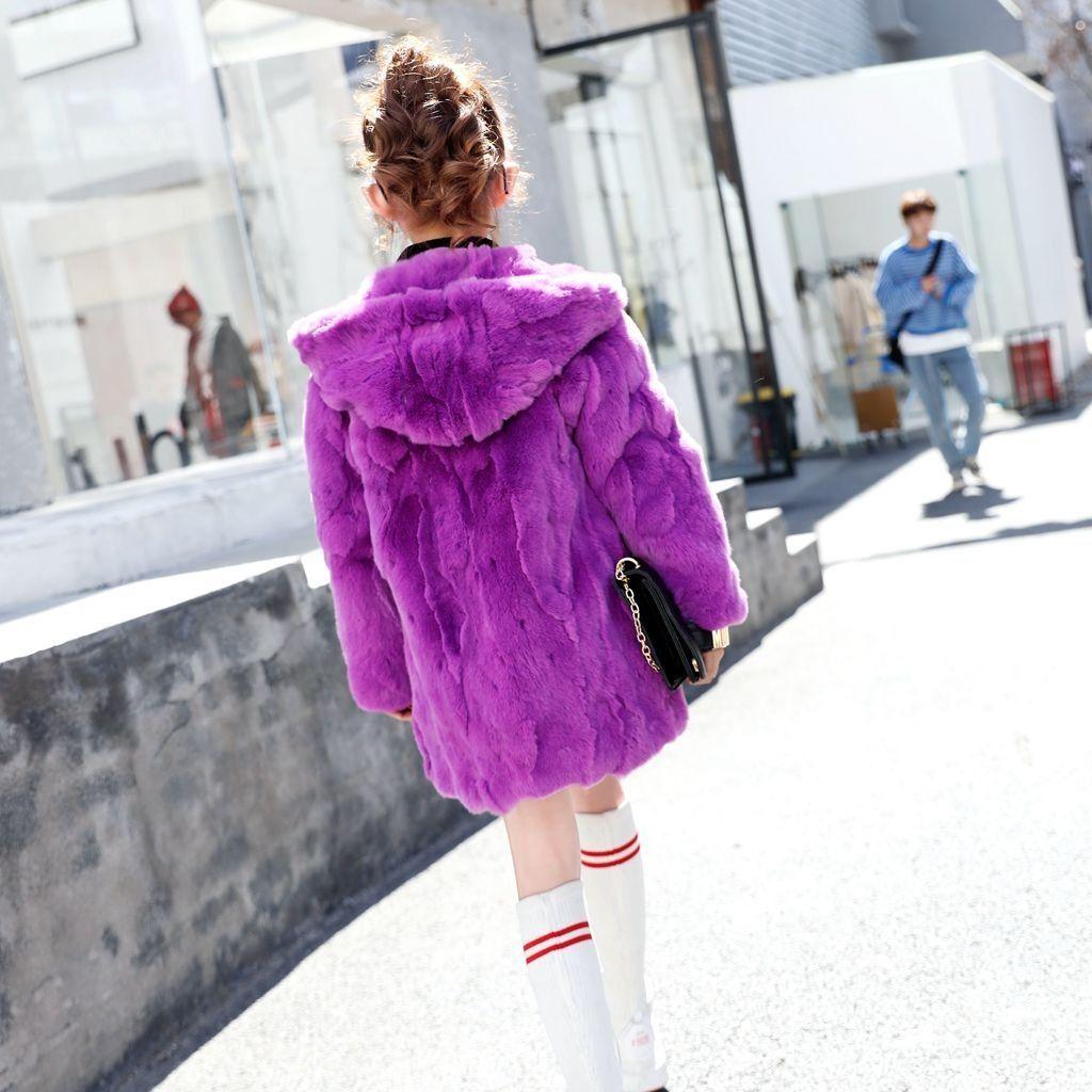Children Real Fur Outerwear Kids Rabbit Fur Coat for Girls and Boys Girls Natural Fur Jacket Winter Natural Fur Boy Coat Hoodies enlarge