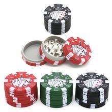 3 capas de fichas de póker estilo Herbal molinillo de tabaco molinillos accesorios de Pipa de fumar rojo/verde/negro
