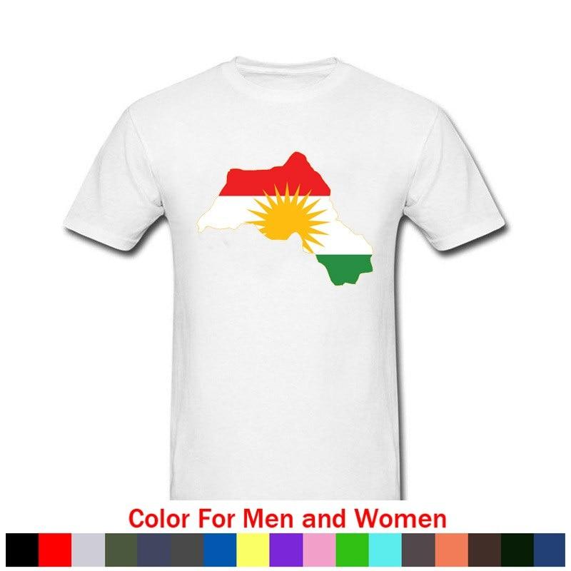 Camiseta de moda Hip Hop estilo Kurdistan bandera mapa verano hombres 100% algodón manga corta Camiseta o-cuello camisetas Streetwear