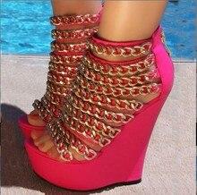 Minan Ser nouvelle mode cuir rose, décoration chaîne dorée, fermetures éclair, chaussures à talons hauts de 15 cm. Taille 35-43